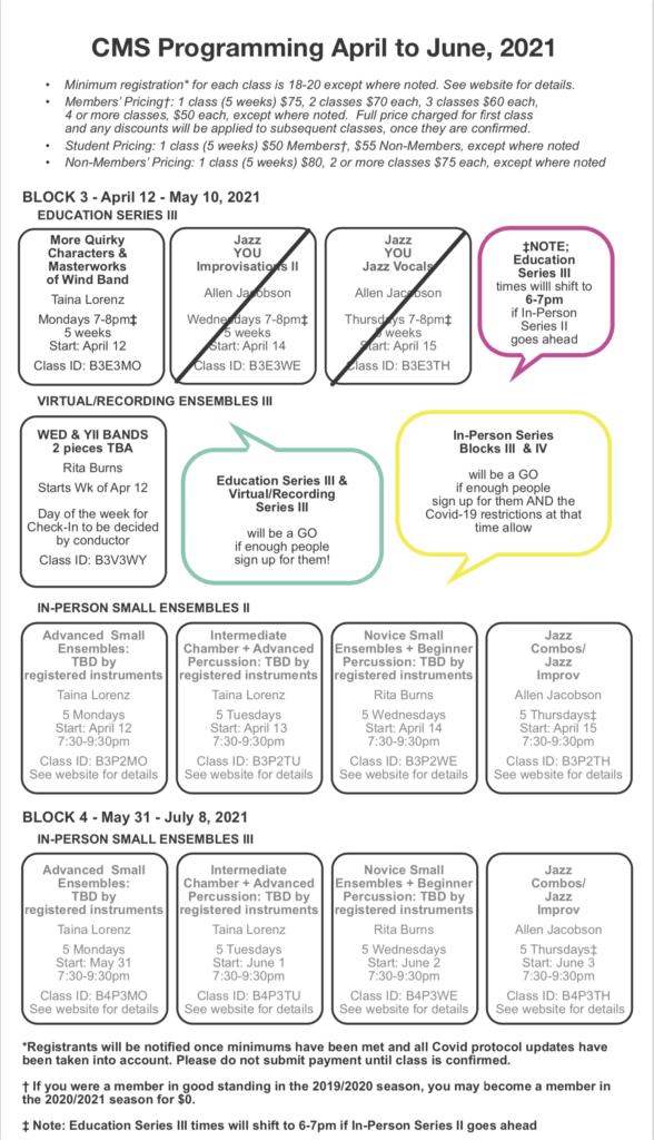 Quick-look course calendar for CMS Spring 2021